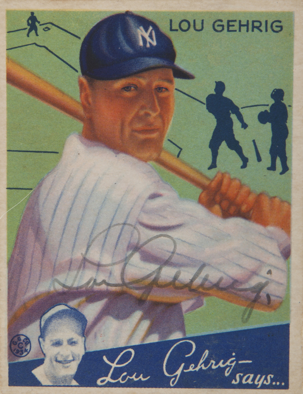 Lou Gehrig 1934 Signed Goudey Card
