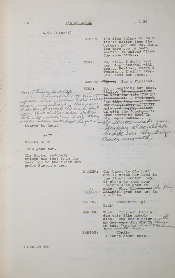 Script page from film I'm No Angel