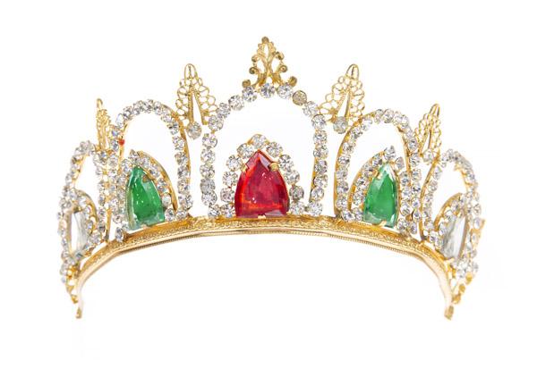 gold tone tiara with rhinestones