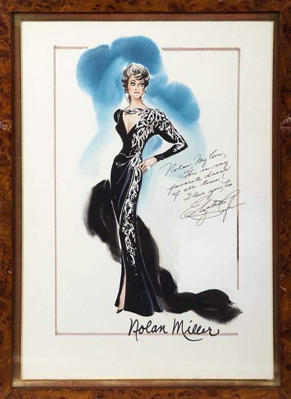 Elizabeth Taylor Gown Sketch