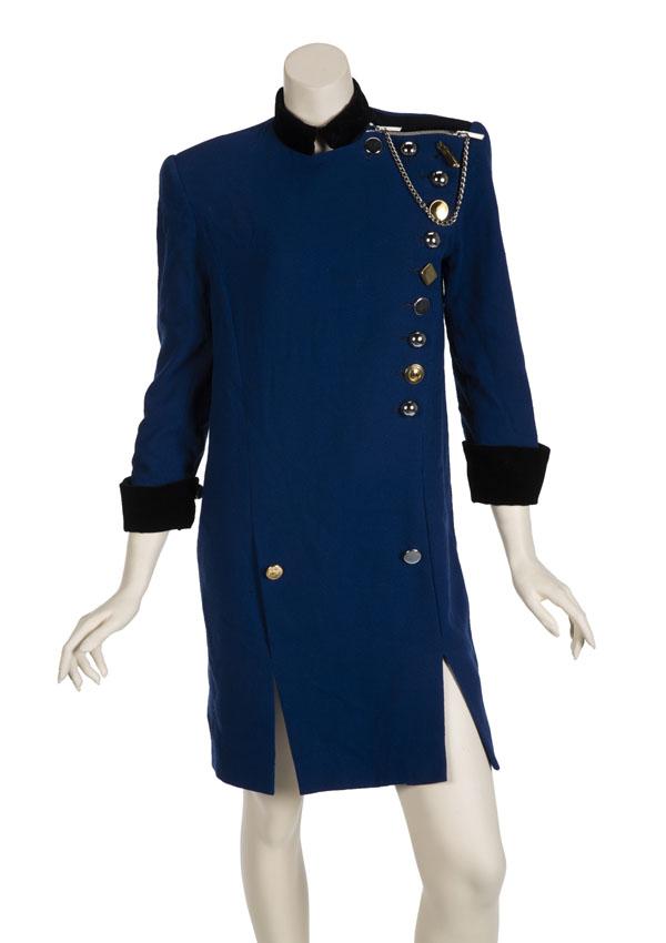 Lady Gaga's blue Ronald van der Kemp coat dress