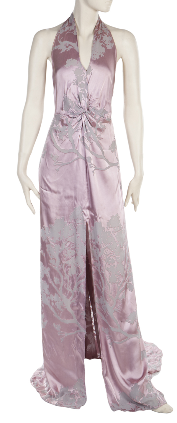 Rahm's orchid and grey burnout silk Twisty gown worn by Mariah Carey