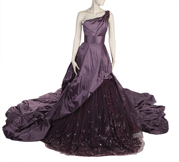 Carrie Underwood purple satin silk bodice gown