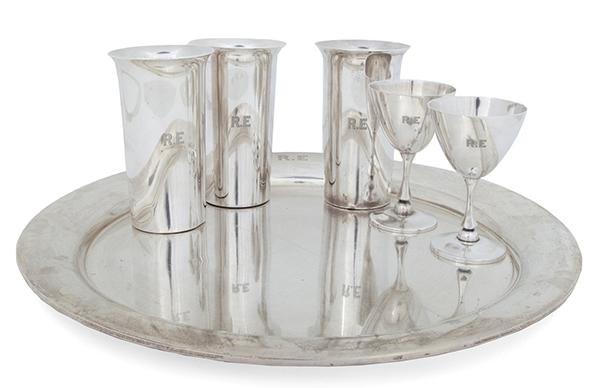Robert Evans sterling Cartier cocktail set