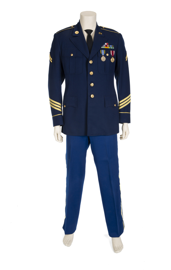 Martin's navy blue wool traditional military jacket with gold stripes, epaulettes, bars, and medals and matching trousers worn in the 1989 comedy Dirty Rotten Scoundrels