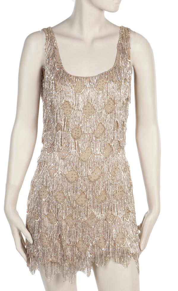 Beyonce Nude Silk Chiffon Dress