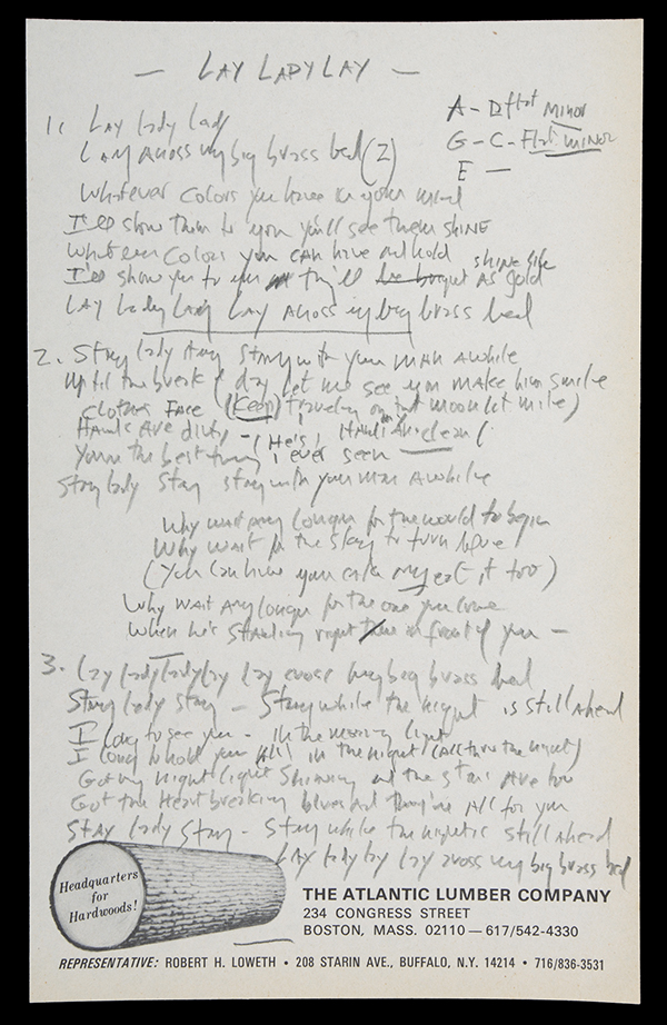 annotations in pencil by Dylan to his 1969 song Lay Lady Lay