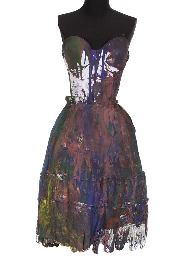 Rita Ora's painted ensemble custom painted by Mr. Brainwash (Thierry Guetta)
