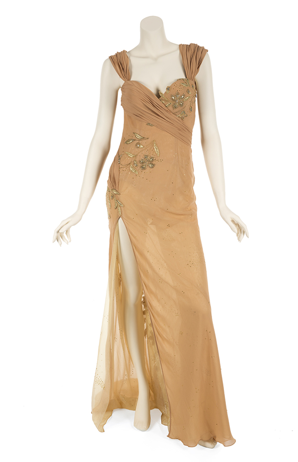 Whitney Houston's embellished flesh tone chiffon Atelier Versace gown