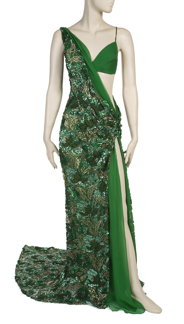 Emerald green custom made gown worn by Michelle Williams to the Grammy Awards in 2001
