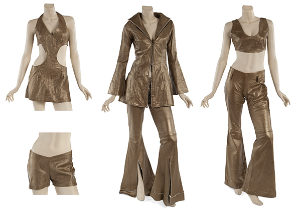 gold leather costumes worn by Beyoncé Knowles, Michelle Williams and Kelly Rowland during the VH1 Divas 2000: A Tribute to Diana Ross
