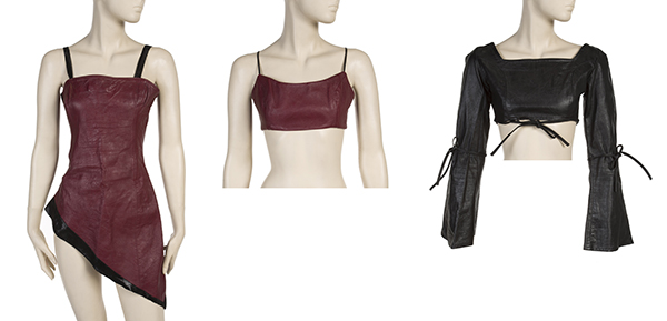 custom made leather bodices worn by Beyoncé Knowles, Michelle Williams and Kelly Rowland while performing on The Tonight Show