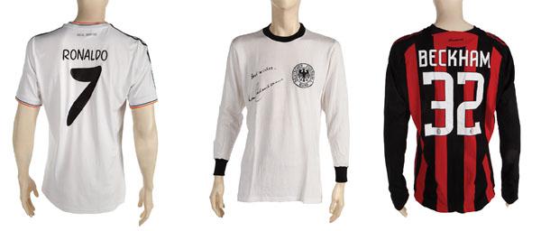 jerseys from Cristiano Ronaldo, Franz Beckenbauer, and David Beckham