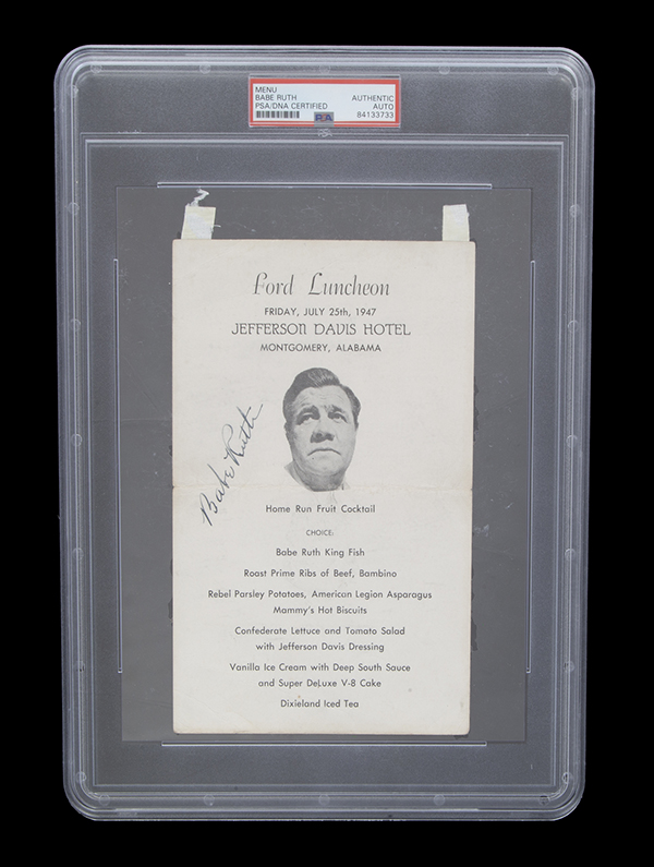 Babe Ruth signed menu from the Ford Luncheon