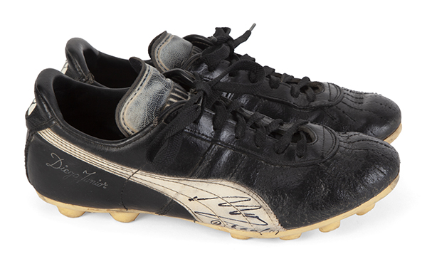 El Pibe de Oro signed and worn boots for F.C. Barcelona