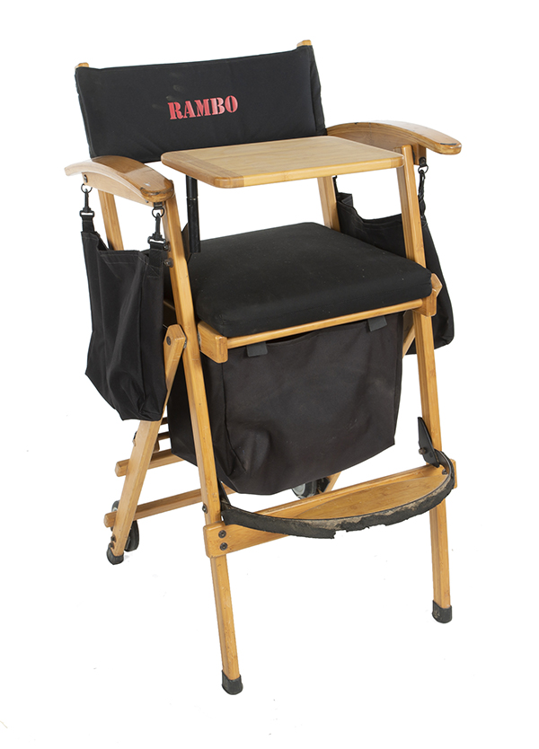 """Sylvester Stallone signed """"Rambo"""" film production chair"""
