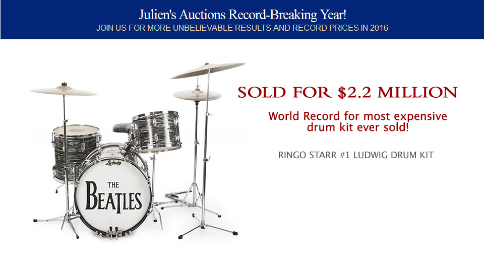 World Record for most expensive drum kit ever sold!