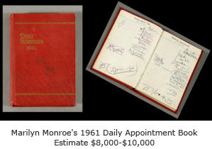 Marilyn Monroe 1962 Daily Appointment Calendar