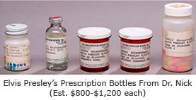 Elvis Presley Prescription Bottles from Dr. Nick