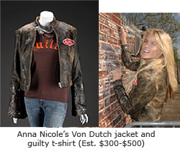 Anna Nicole's Von Dutch jacket and guilty t-shirt