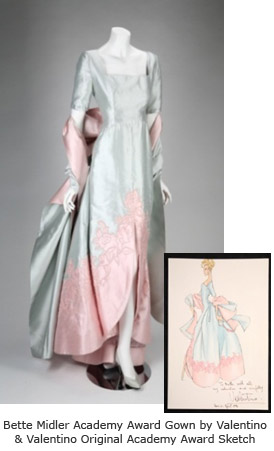 Bette Midler Valentino Gown and Valentino Sketch