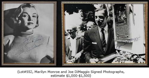 Marilyn Monroe and Joe DiMaggio signed photographs