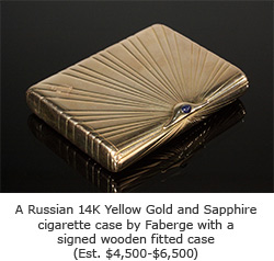 Faberge Russian 14K Yellow Gold and Sapphire cigarette case