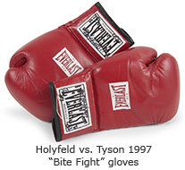 "Holyfield versus Tyson ""Bite Fight"" gloves"