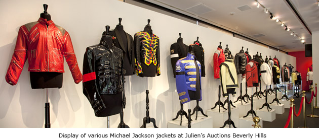 Display of various Michael Jackson jackets at Julien's Auctions Beverly Hills