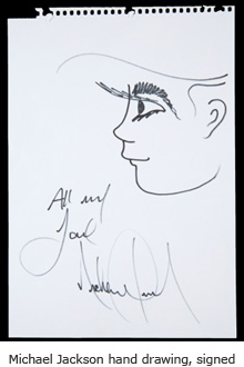 Michael Jackson hand drawing, signed