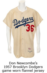 Don Newcombe's 1957 Brooklyn Dodgers game worn flannel jersey