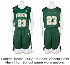 LeBron James' 2002-03 Saint Vincent-Saint Mary High School game worn uniform