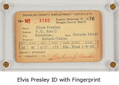 Elvis Presley ID with fingerprint