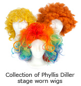 Collection of Phyllis Diller stage worn wigs