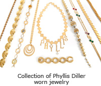 Collection of Phyllis Diller worn jewelry