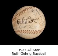 1937 All-Star Ruth Gehrig Baseball