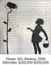 Flower Girl, Banksy, 2008, Estimate: $150,000-$300,000
