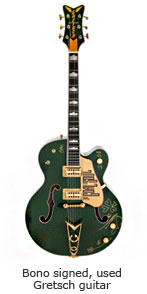 Bono signed, used Gretsch guitar