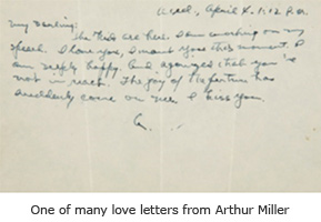 One of many love letters from Arthur Miller