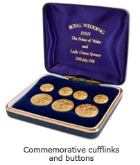 Commemorative cufflinks and buttons