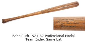 Babe Ruth 1921-32 Professional Model Team Index Game bat