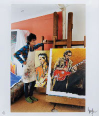 Ronnie Wood with Artwork
