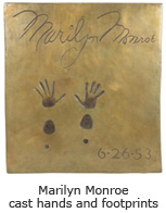 Marilyn Monroe cast hands and footprints