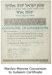 Marilyn Monroe Conversion to Judaism Certificate