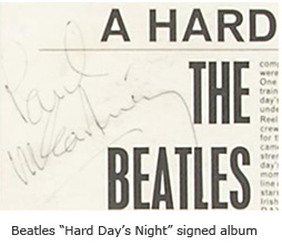 "Beatles ""Hard Days Night"" signed album"