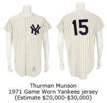 Thurman Munson 1971 Game Worn Yankees jersey