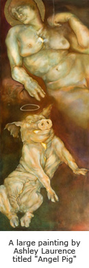 "A large painting by Ashley Laurence titled ""Angel Pig"""