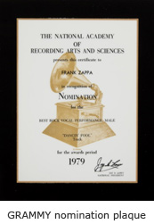 Frank Zappa GRAMMY nomination plaque
