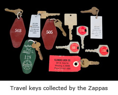 Travel keys collected by the Zappas
