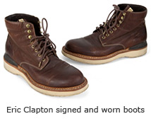 Eric Clapton signed and worn boots